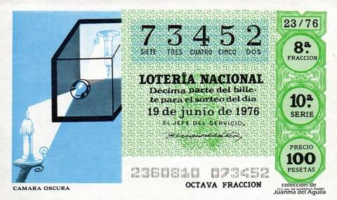 Décimo de Lotería Nacional de 1976 Sorteo 23 - CAMARA OSCURA