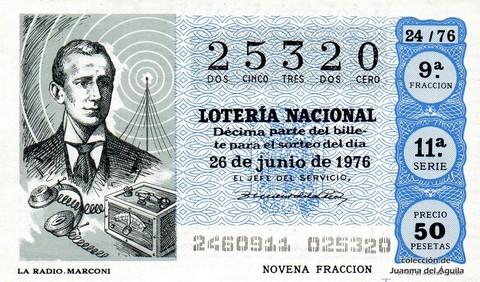 Décimo de Lotería Nacional de 1976 Sorteo 24 - LA RADIO. MARCONI