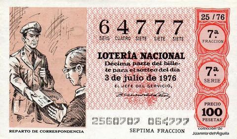 Décimo de Lotería Nacional de 1976 Sorteo 25 - REPARTO DE CORRESPONDENCIA