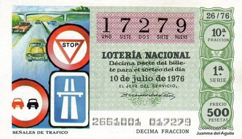 Décimo de Lotería Nacional de 1976 Sorteo 26 - SEÑALES DE TRAFICO