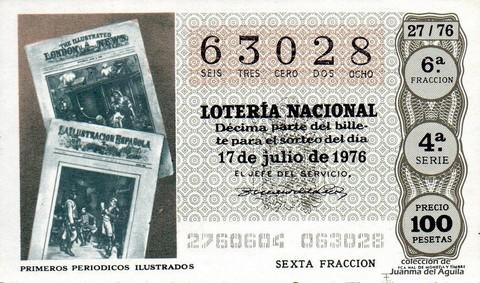 Décimo de Lotería Nacional de 1976 Sorteo 27 - PRIMEROS PERIODICOS ILUSTRADOS