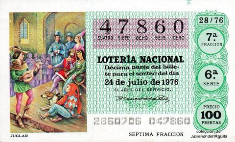 Décimo de Lotería Nacional de 1976 Sorteo 28 - JUGLAR