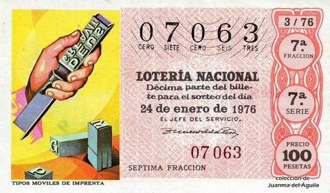 Décimo de Lotería Nacional de 1976 Sorteo 3 - TIPOS MOVILES DE IMPRENTA