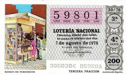 Décimo de Lotería Nacional de 1976 Sorteo 30 - KIOSCO DE PERIODICOS