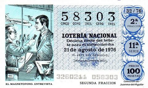 Décimo de Lotería Nacional de 1976 Sorteo 32 - EL MAGNETOFONO. ENTREVISTA