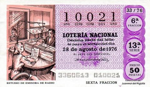 Décimo de Lotería Nacional de 1976 Sorteo 33 - ESTUDIO DE EMISORA DE RADIO