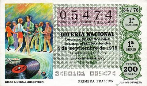 Décimo de Lotería Nacional de 1976 Sorteo 34 - DISCO MUSICAL (DISCOTECA)