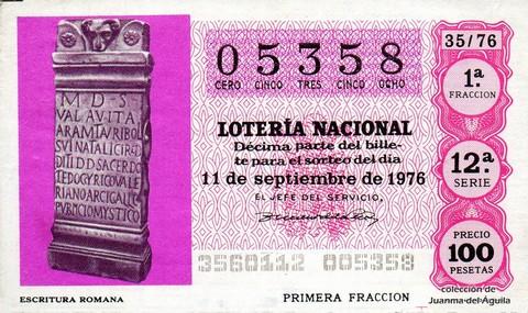 Décimo de Lotería Nacional de 1976 Sorteo 35 - ESCRITURA ROMANA