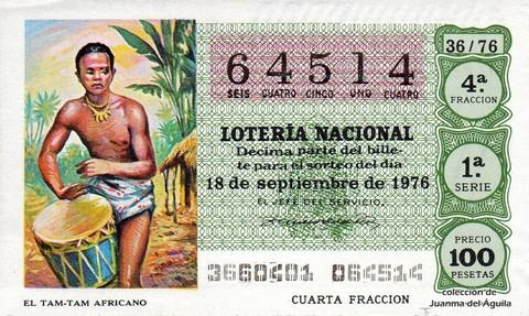 Décimo de Lotería Nacional de 1976 Sorteo 36 - EL TAM-TAM AFRICANO