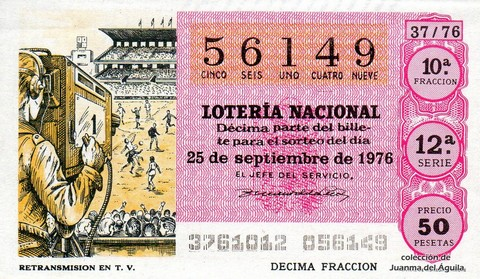 Décimo de Lotería Nacional de 1976 Sorteo 37 - RETRANSMISION EN T.V.