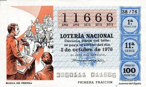 Décimo de Lotería Nacional de 1976 Sorteo 38 - RUEDA DE PRENSA