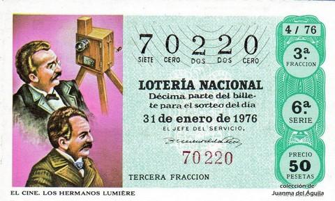 Décimo de Lotería Nacional de 1976 Sorteo 4 - EL CINE. LOS HERMANOS LUMIÈRE
