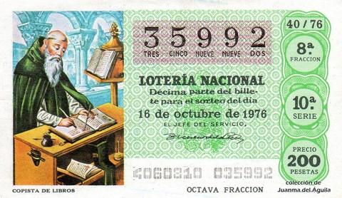 Décimo de Lotería Nacional de 1976 Sorteo 40 - COPISTA DE LIBROS