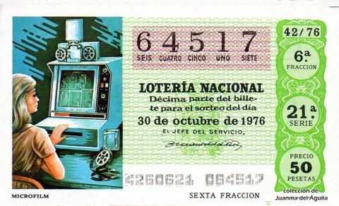 Décimo de Lotería Nacional de 1976 Sorteo 42 - MICROFILM