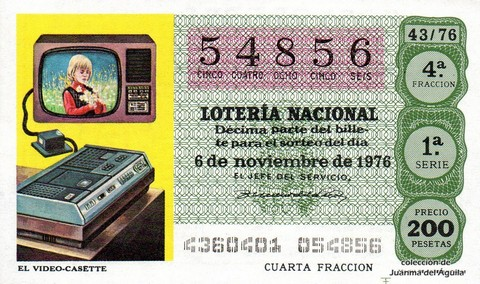 Décimo de Lotería Nacional de 1976 Sorteo 43 - EL VIDEO-CASETTE
