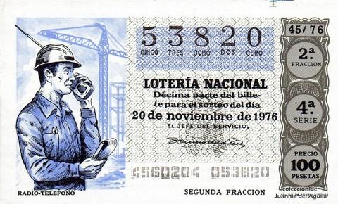Décimo de Lotería Nacional de 1976 Sorteo 45 - RADIO-TELEFONO