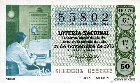 Décimo de Lotería Nacional de 1976 Sorteo 46 - TELEX