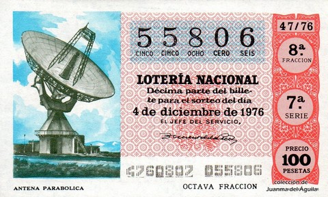 Décimo de Lotería Nacional de 1976 Sorteo 47 - ANTENA PARABOLICA