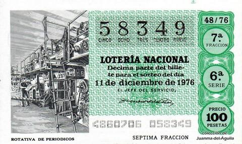Décimo de Lotería Nacional de 1976 Sorteo 48 - ROTATIVA DE PERIODICOS