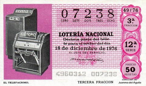 Décimo de Lotería Nacional de 1976 Sorteo 49 - EL TELEFACSIMIL