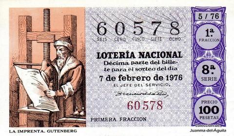 Décimo de Lotería Nacional de 1976 Sorteo 5 - LA IMPRENTA. GUTENBERG