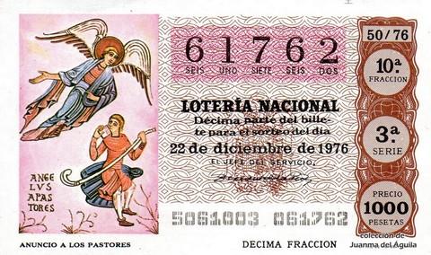 Décimo de Lotería Nacional de 1976 Sorteo 50 - ANUNCIO A LOS PASTORES