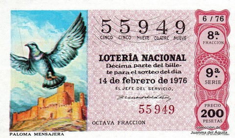 Décimo de Lotería Nacional de 1976 Sorteo 6 - PALOMA MENSAJERA