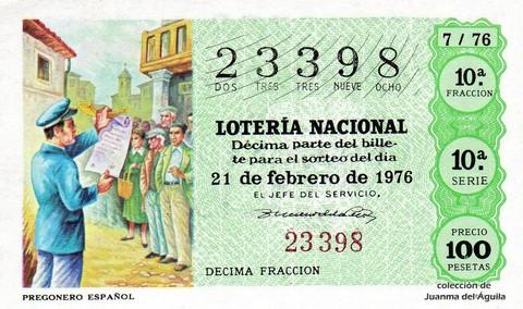 Décimo de Lotería Nacional de 1976 Sorteo 7 - PREGONERO ESPAÑOL