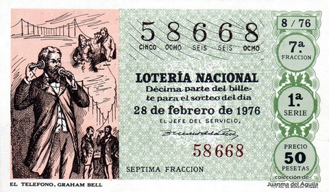 Décimo de Lotería Nacional de 1976 Sorteo 8 - EL TELEFONO, GRAHAM BELL