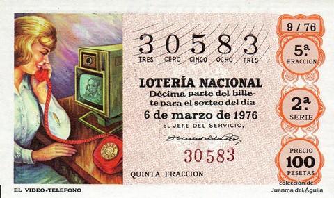 Décimo de Lotería Nacional de 1976 Sorteo 9 - EL VIDEO-TELEFONO