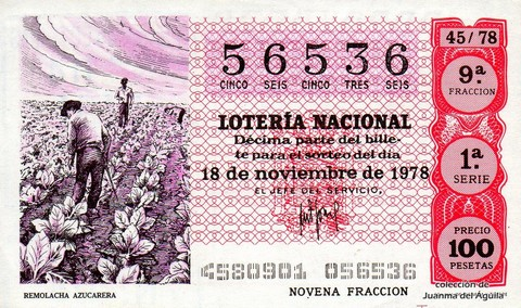 Décimo de Lotería 1978 / 45