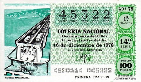 Décimo de Lotería 1978 / 49