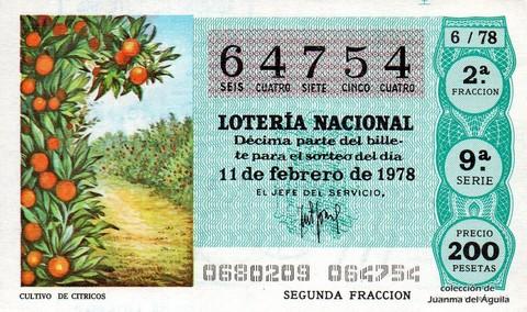 Décimo de Lotería 1978 / 6