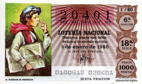 Décimo de Lotería 1980 / 1