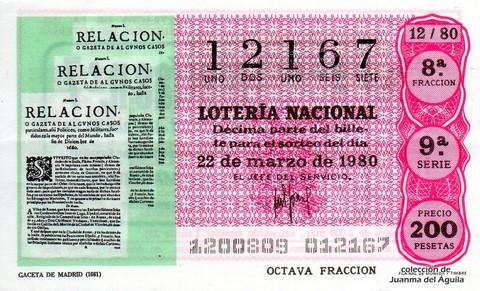 Décimo de Lotería 1980 / 12