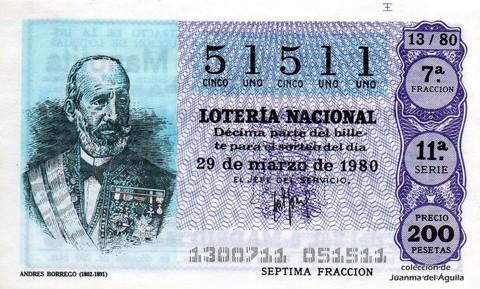 Décimo de Lotería 1980 / 13