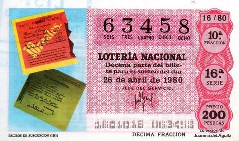 Décimo de Lotería 1980 / 16