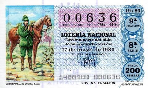 Décimo de Lotería 1980 / 19