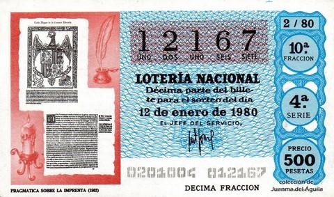 Décimo de Lotería 1980 / 2