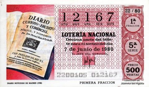 Décimo de Lotería 1980 / 22