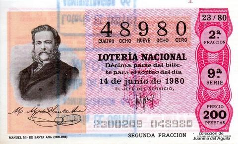 Décimo de Lotería 1980 / 23
