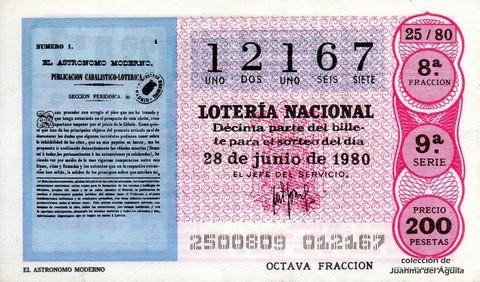 Décimo de Lotería 1980 / 25