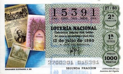 Décimo de Lotería 1980 / 27