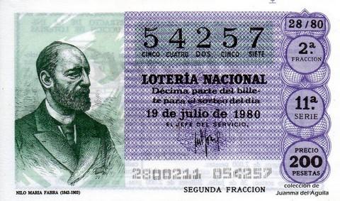 Décimo de Lotería 1980 / 28