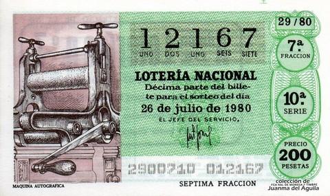 Décimo de Lotería 1980 / 29
