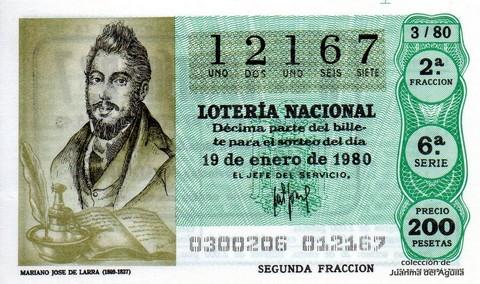 Décimo de Lotería 1980 / 3