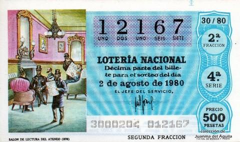 Décimo de Lotería 1980 / 30