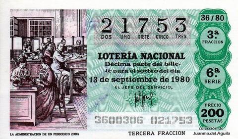 Décimo de Lotería 1980 / 36