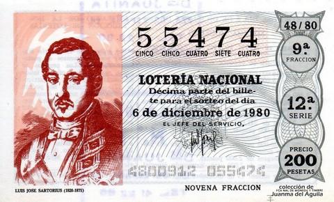 Décimo de Lotería 1980 / 48