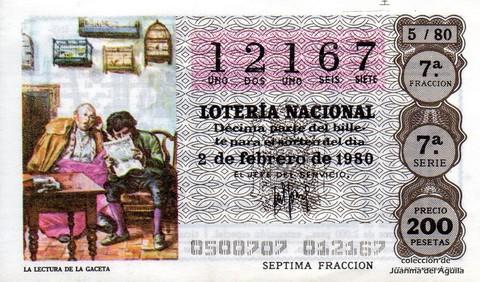 Décimo de Lotería 1980 / 5